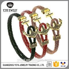 BAC0114 New 2017 Fashion Leather Anchor Bracelets, Popular Bangle Black Leather Bracelets ,cz diamond anchor Men's Bracelets