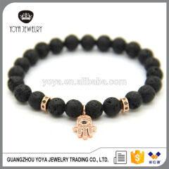 BRZ1386 Wholesale price natural gemstone lava beads bracelet,Hamsa elastic bracelet