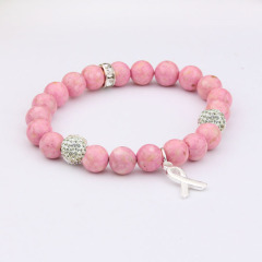BR0502 Custom Polymer Clay Heishi Disc Beaded Bracelet with charm Natural Stone Beads Beaded Breast Cancer Awareness Bracelet