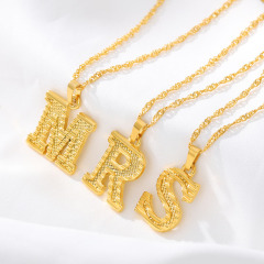 NS1078 Popular 18k Gold Plated Stainless Steel Capital Letter Initial Pendant Chain Necklace