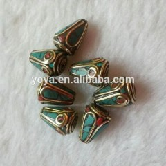 NB0077 Fashion handmade turquoise and coral inlayed cone nepal nepalese beads
