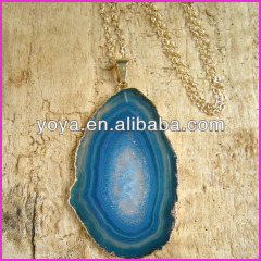 NE2140 Fashion Turquoise Blue Agate Geode Slice pendant necklace,Fashion Chunky Necklace