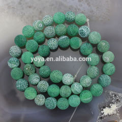 AB0105 Green matte weathered agate beads, gemstone frost agate beads