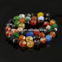 AB0686m New Star Geometric Cut multicolor  Faceted Mixed Colour Agate Nugget Beads