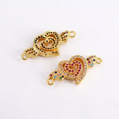 CZ8151 Bracelet Accessories Brass Micro Pave Crown Arrow Heart Shape Charm Connector For Jewelry Finding Connector