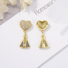 CZ8157 Hot Sale Beautiful Zircon Micro Pave Heart Necklace Pendant  For Jewelry