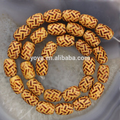 SB0697 Painted Wood Drum Beads,Wooden Drum Rice Spacer Beads