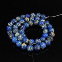 SM3004 Hot sale blue sea sediment jasper beads,natural imperial jasper beads made in China