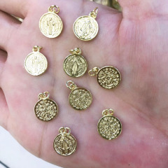 JS1496 Christian Jewelry Supplies Charms,Small 18k Gold Plated The Virgin Mary Coin Jesus Medal Charms