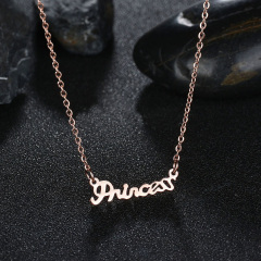 NS1051 HIgh Quality Stainless Steel Dainty Gold Plated Princess Words Necklace