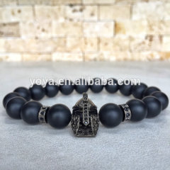 BRD1010 Hotsale Roman Warrior Bracelet,Gladiator Head Bracelet, Black Onyx Beaded Bracelet