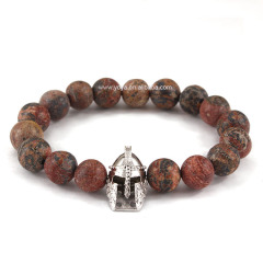 BRD0927 viking hot sale black imperial jasper beaded spartan gladiator bracelets, helmet bracelet mens jewelry