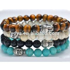 BR0170 Hotsale Silver Buddha Head Bracelet,Natural Gemstone Beaded Bracelet