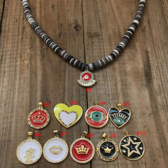 NC1080 Collier Polymer Clay Vinyl Disc Heishi Beads Autumn Winter Pastel Choker Necklace with Enamel CZ Charm for Women