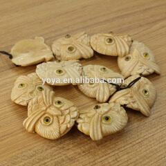 OB019 Lifelike hand carved Oxen Bone owl head charm beads,Bovine Bone owl Beads