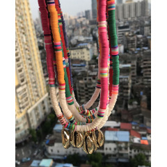 NC1078 White Shell Multicolor Clay Heishi Necklace, Polymer Clay Heishi Beads Summer Choker Necklace with Cowry Shell Charm