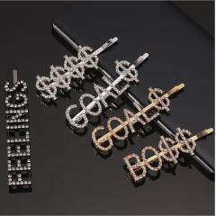 H1001 Fashion Bling Rhinestone Crystal Gold Words LOVE Letters Hair Clips Hairpins Babby Pins