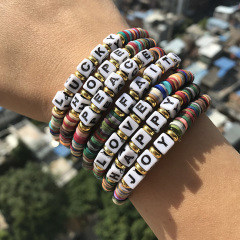 BP1009 Colorful Rainbow Polymer Disc Heishi Beaded Words Letters Inspirational Stack Bracelet