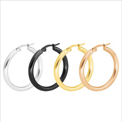 ES1017 High Quality Gold Plated Stainless Steel Rounded Hollow Tube Hoop Earrings
