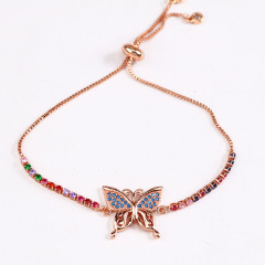BC1256  Fashion Chic 18k Gold Plated Rainbow Diamond CZ Micro Pave Butterfly Charm Tennis Chain Bracelets for Women girls