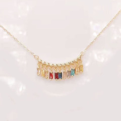2020 New Spring Jewelry Chic Dainty Cubic Zirconia CZ Micro Pave Mini Star Rectangle Round Charm Necklace