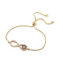 BC1261  Fashion Gold plated Brass CZ Micro Pave  wrist Ladies adjustable bracelet limitless charm women copper bracelet