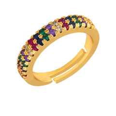 RM1084 Chic Dainty Mini Rainbow Two Rows CZ Finger Rings