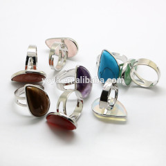 RG1011 Wholesale teardrop gemstone adjustable rings,stone statement bezel rings
