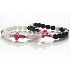 BRC2007 Pink Cross Bracelet For Couples,Natural White Jade Black Onyx Stone Bracelet For Boys Girls