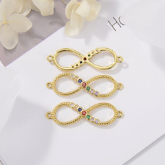 CZ8150 Hot Sale Zircon Micro Pave Bracelet Connector Eight Letter Charms Digital Letter For Jewelry Making