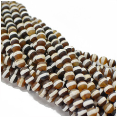 AB0194 Natural Matte 1 White Stripe Brown Tibetan Agate Beads