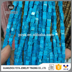 SB6698 Wholesale synthetic blue turquoise cube stone beads,turquoise square beads in strand
