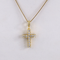 NS1082 High Quality Diamond Christian Religion Jewelry 18k Gold Plated Stainless Steel CZ Micro Pave Cross Pendant Necklace