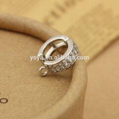 CZ6545 wholesale cz micro pave plated diamond clasps charm pendant findings