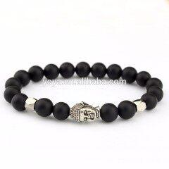 BR0906 Best selling Black Onyx Beaded Buddha Bracelet,Buddha Head Bracelet,Buddha Beads Bracelet