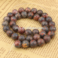 SB6228 Popular red round leopard skin jasper gemstone beads