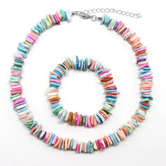 S11042 Hawaii Beach Jewelry, Puka Sea Shell Chips Bracelet and Necklace Jewelry Set