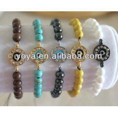 BRE1026 Round rhinestone pave evil eye Bracelet,gemstone beaded Yoga bracelet