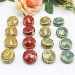 CC1825 Glazed Porcelain Disk Beads for Jewellery Making, Vintage Spiral Disk Saucer Chinoiserie Ceramic Beads
