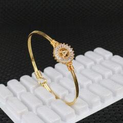 BA009 18k Gold Plated Cubic Zirconia Diamond 26 Alphabet Letter Handmade Bangles A-Z Initial Bangle Bracelet for Women Gifts