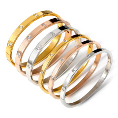 BS2031 Popular Bling Womens Crystal Pave Gold plated Stainless Steel Nail Screw Bangles Bracelets