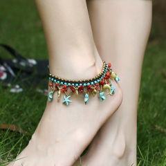 AS1010 Vintage Handmade Turquoise Beaded Star and dolphin Fish Charm Macrame Anklets for Women, Boho Bohemian Anklet for Girls