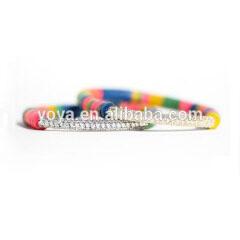 BN2035 CZ Micro Diamond Pave Bar Bracelet,Multicolor Polymer Clay Heishi Disc Beaded Bracelet