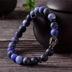 BN1022 High quality gemstone matte sodalite elastic bracelet,stainless steel buddha bracelet