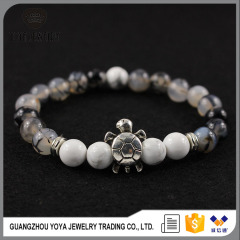 BAA1702 Hot sale White Howlite & Dragon Vein Agate Beaded Turtle Bracelets,Spiritual jewelry Energy bracelet