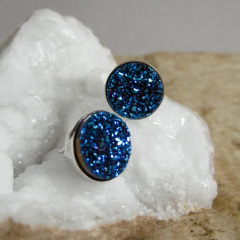EA3149 Latest design Druzy Bezel Sets, Sparkly Druzy Post Earring