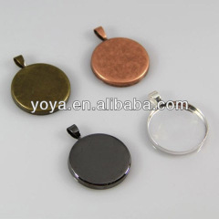 JF3267 Antique bronze & copper& silver & gold plated round blank pendant bezel trays