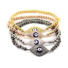 BRE1032 Fashion CZ micro Diamond Evil Eye Jewish 4 color beads Bracelet