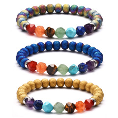 BN1352 latest Natural Plated Raw Geode Agate Beads Star Cut Faceted Rainbow Stone 7 Chakra Healing Bracelets