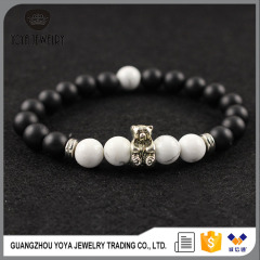 BAA1701 Hot sale White Black Onyx Beaded Bear Bracelets,Animal Bracelets